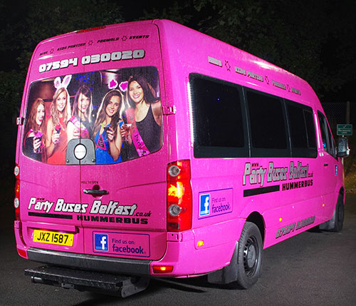 Pink Hummer party bus Belfast